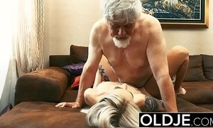 blonde mature  cock  fuck  grandpa  man vs woman  old cunt